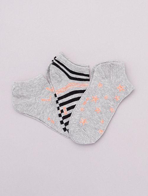 Pack de 3 pares de calcetines bajos                                         gris/rosa