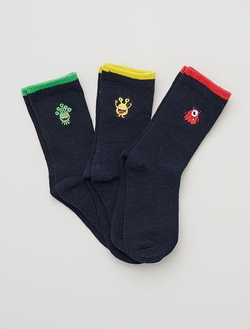 Pack de 3 pares de calcetines bordados                                         marino