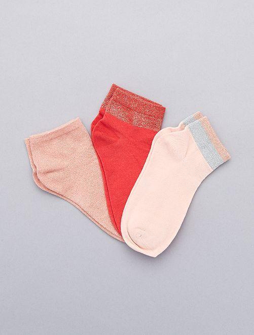 Pack de 3 pares de calcetines brillantes                             ROSA