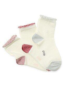 Niña 3-12 años Pack de 3 pares de calcetines con borde brillante