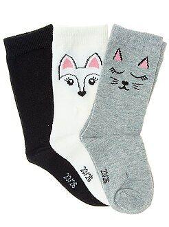 Niña 4-12 años Pack de 3 pares de calcetines con motivo de corazón y estrella