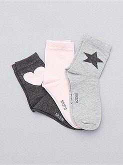 Niña 3-12 años Pack de 3 pares de calcetines con motivo de corazón y estrella