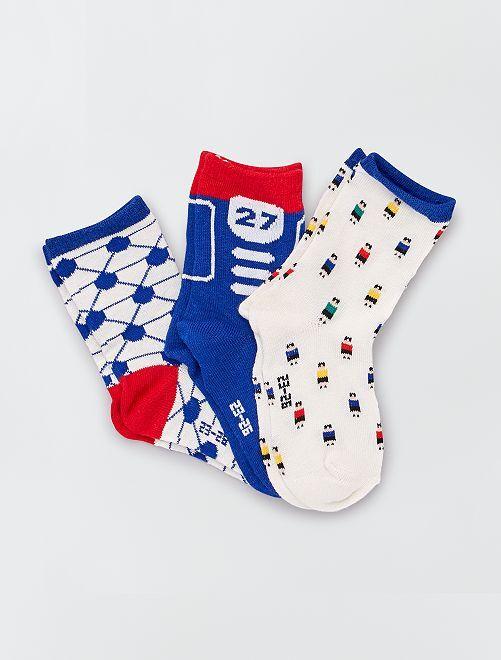 Pack de 3 pares de calcetines con motivos de 'fútbol'                                         azul/rojo