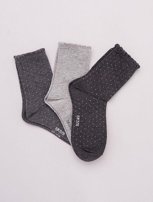 Pack de 3 pares de calcetines con motivos                                                                                         gris
