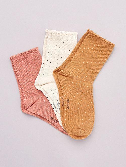Pack de 3 pares de calcetines con motivos                                                                                         NARANJA