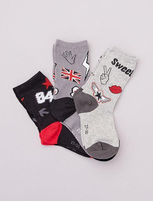 Pack de 3 pares de calcetines con motivos                             negro/gris