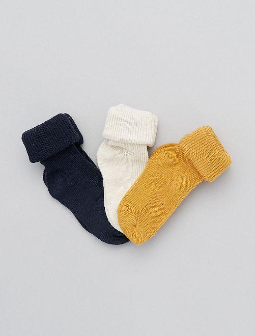 Pack de 3 pares de calcetines de algodón orgánico                                                                 AMARILLO