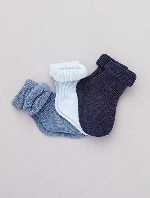 Pack de 3 pares de calcetines de algodón orgánico                                                                 AZUL