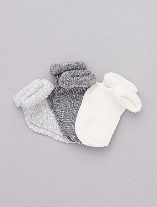 Pack de 3 pares de calcetines de algodón orgánico                                                                 BLANCO Bebé niño