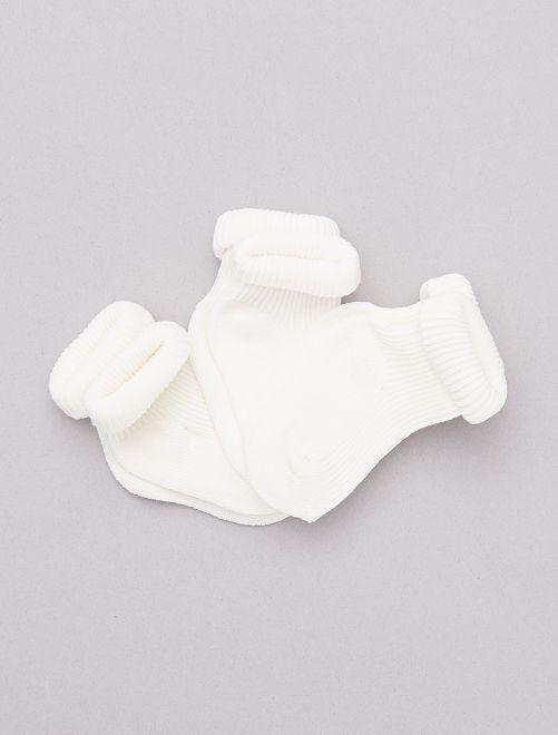 Pack de 3 pares de calcetines de algodón orgánico                                         BLANCO