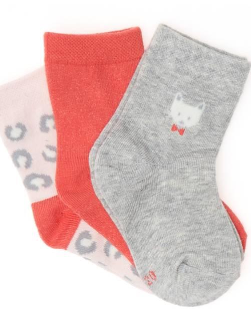 Pack de 3 pares de calcetines de fantasía                             GRIS Bebé niña