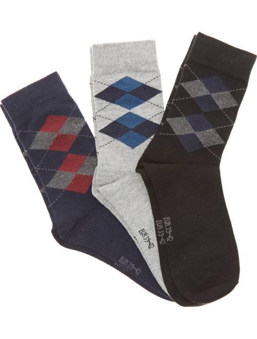Pack de 3 pares de calcetines de jacquard                             AZUL Tallas grandes hombre