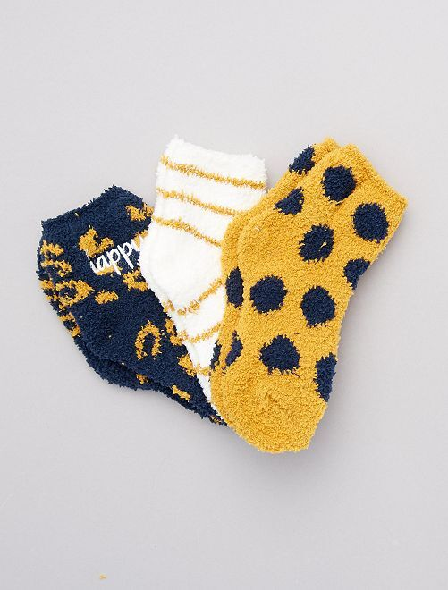 Pack de 3 pares de calcetines de punto suave                                         amarillo