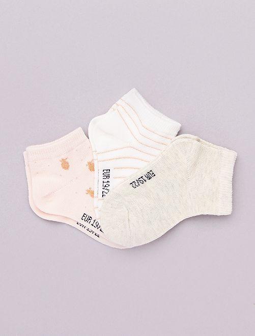 Pack de 3 pares de calcetines 'eco-concepción'                                                     ROSA