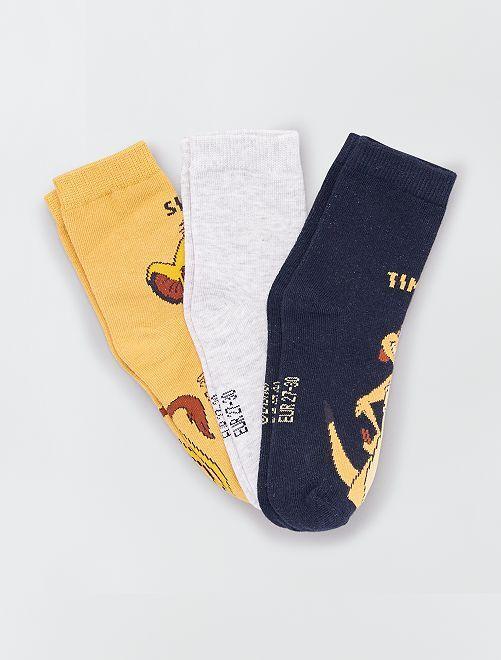 Pack de 3 pares de calcetines 'El Rey León'                             AMARILLO