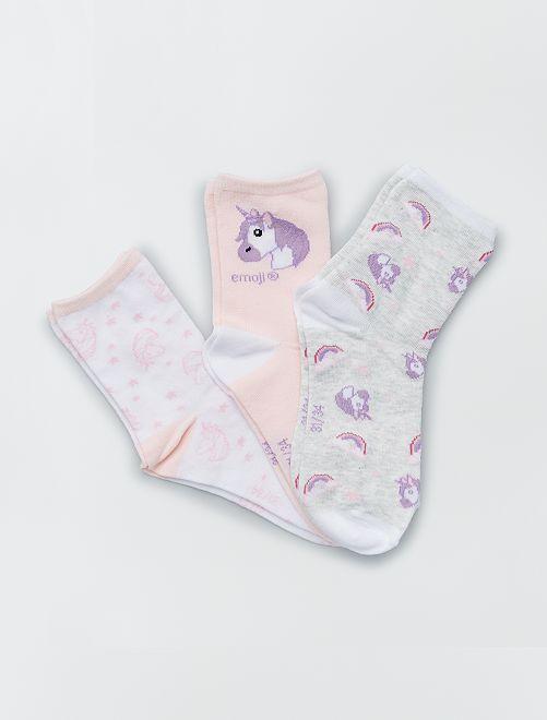 Pack de 3 pares de calcetines 'Emoji'                             BLANCO