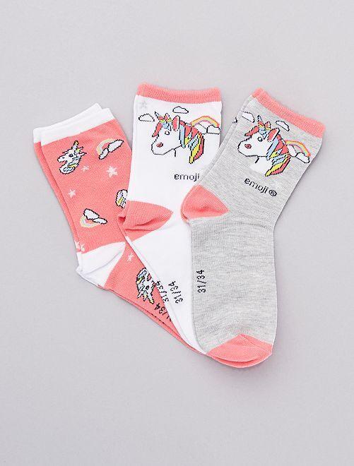 Pack de 3 pares de calcetines 'Emoji'                             ROSA