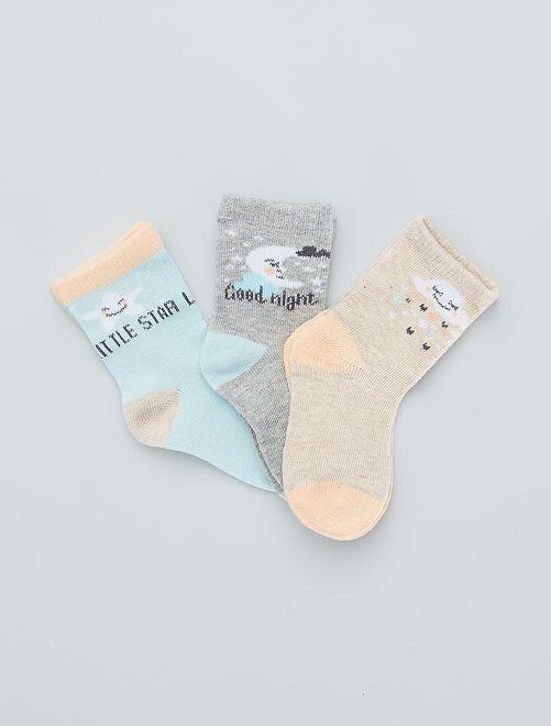 Pack de 3 pares de calcetines estampados                                         azul