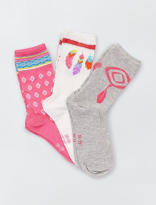 Pack de 3 pares de calcetines estampados                                         BEIGE