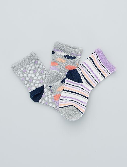 Pack de 3 pares de calcetines estampados                             gris