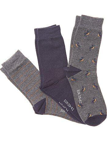 Tallas grandes hombre - Pack de 3 pares de calcetines fantasía - Kiabi