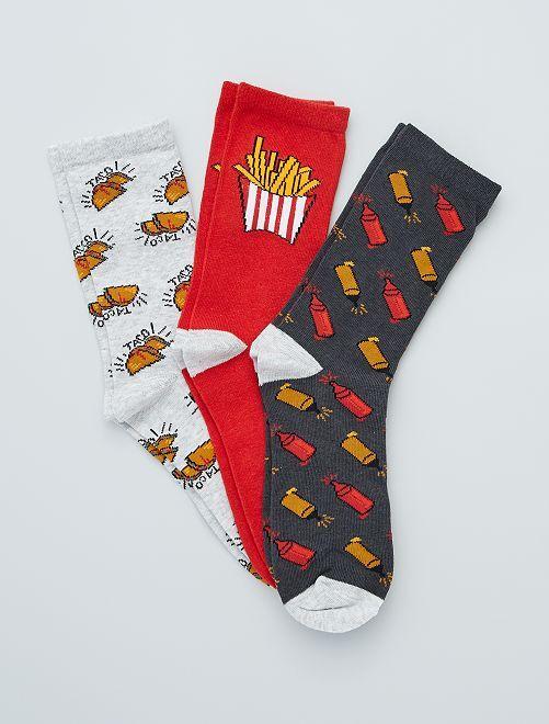 Pack de 3 pares de calcetines 'food'                                         GRIS