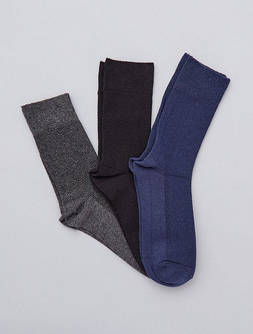 Pack de 3 pares de calcetines                             GRIS Tallas grandes hombre