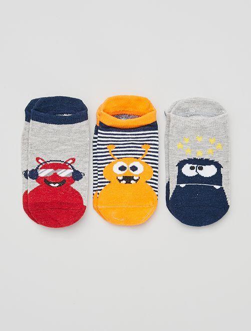 Pack de 3 pares de calcetines                                         gris/naranja