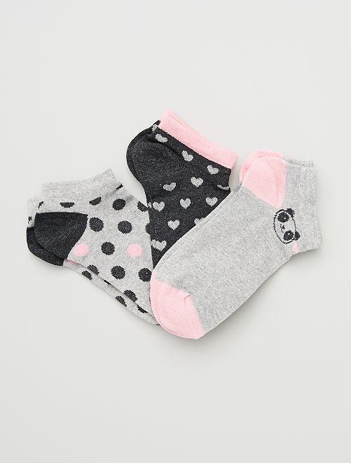 Pack de 3 pares de calcetines                             gris/rosa