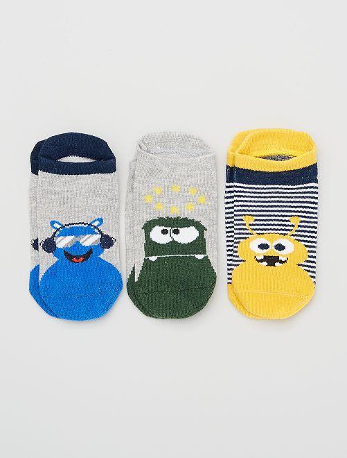 Pack de 3 pares de calcetines                                         gris/verde