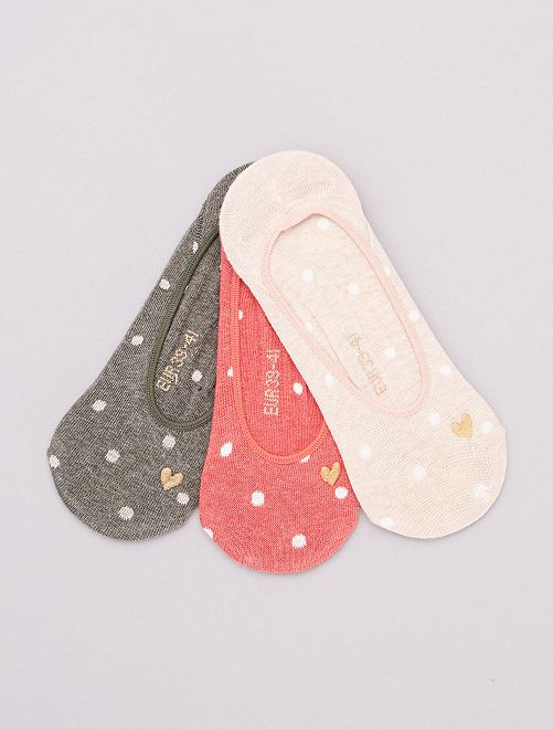 Pack de 3 pares de calcetines invisibles                                                                 KAKI