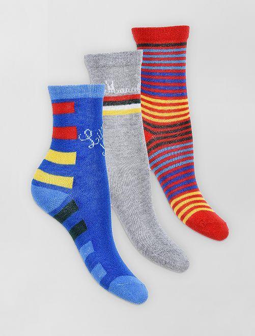Pack de 3 pares de calcetines 'Little Marcel'                                         gris/rojo