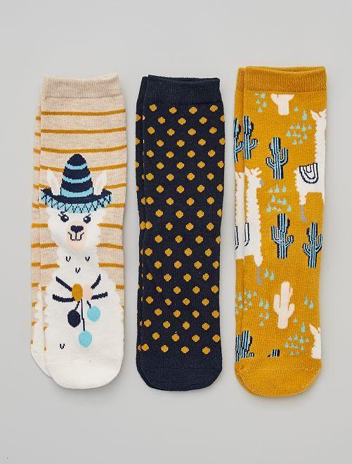 Pack de 3 pares de calcetines 'llama'                                         amarillo