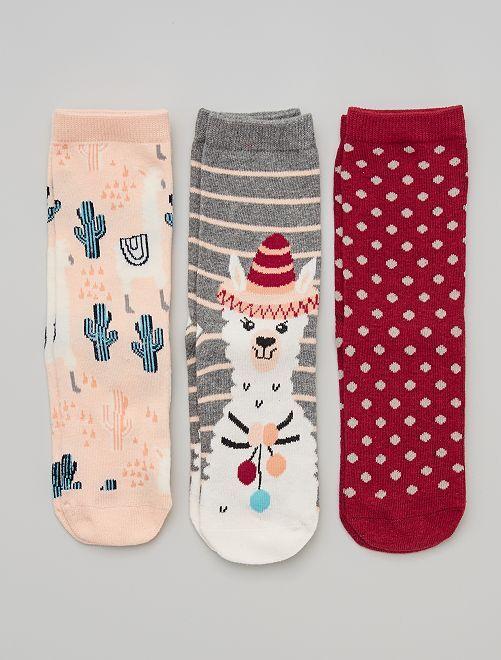 Pack de 3 pares de calcetines 'llama'                                         rosa