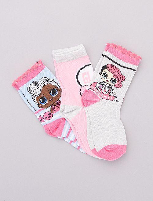 Pack de 3 pares de calcetines 'L.O.L Surprise'                                         a rayas