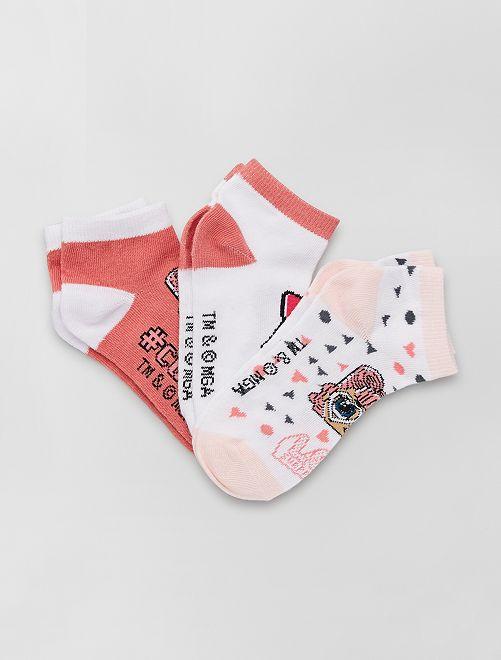 Pack de 3 pares de calcetines 'L.O.L Surprise!'                              BLANCO/rosa