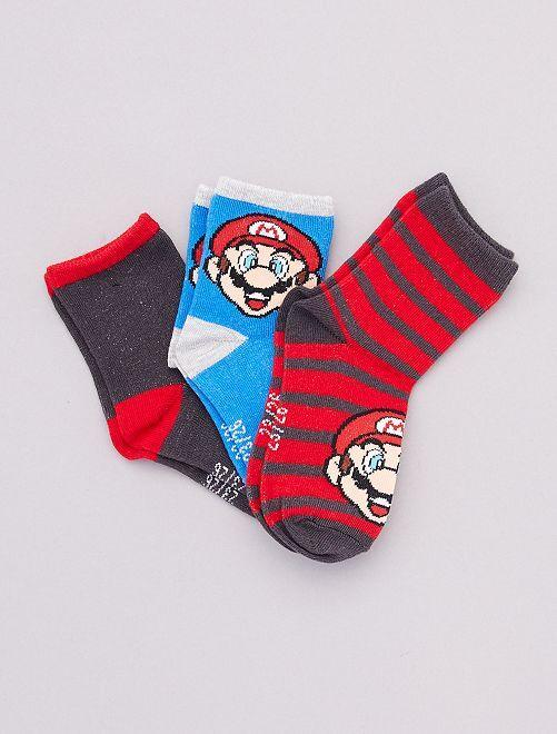 Pack de 3 pares de calcetines 'Mario'                             ROJO