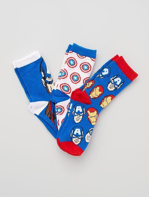 Pack de 3 pares de calcetines 'Marvel'                                         BLANCO