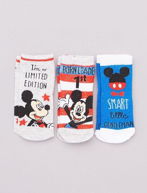 Pack de 3 pares de calcetines 'Mickey'                                         rojo