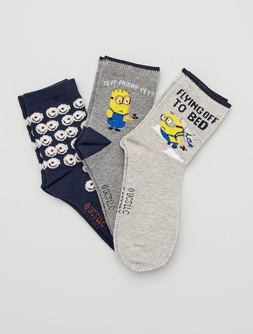 Pack de 3 pares de calcetines 'Minions'                             GRIS