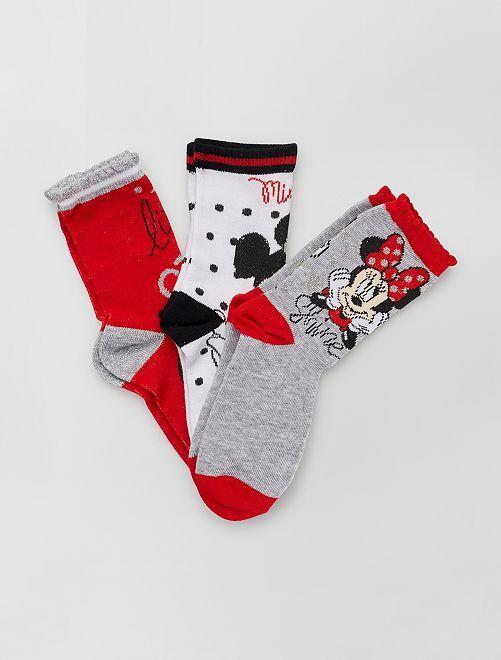 Pack de 3 pares de calcetines 'Minnie' 'Disney'                                         ROJO