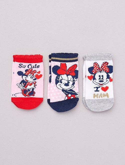 Pack de 3 pares de calcetines 'Minnie' 'Disney'                                         ROSA