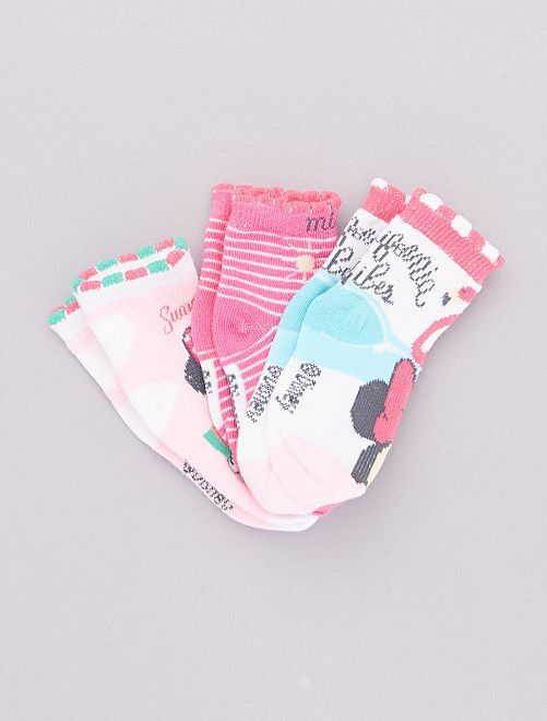 Pack de 3 pares de calcetines 'Minnie'                                         fucsia
