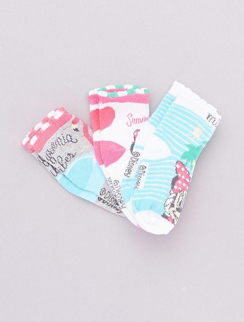 Pack de 3 pares de calcetines 'Minnie'                                         gris