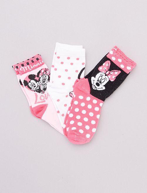 Pack de 3 pares de calcetines 'Minnie Mouse'                                         rosa/blanco