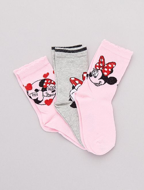 Pack de 3 pares de calcetines 'Minnie'                                         rosa/gris