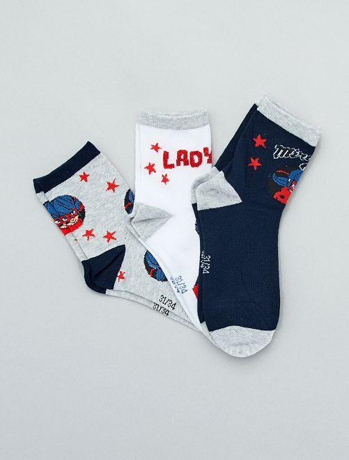 Pack de 3 pares de calcetines 'Miraculous'                             AZUL