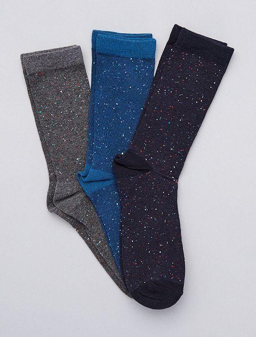 Pack de 3 pares de calcetines moteados                                         AZUL