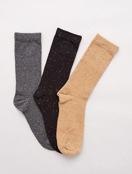 Pack de 3 pares de calcetines moteados                                                     NEGRO