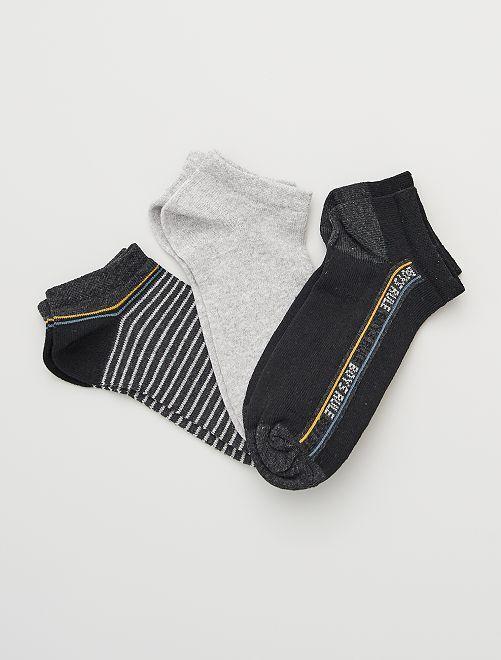 Pack de 3 pares de calcetines                             negro/gris